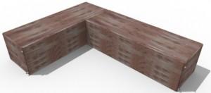 2 - 300 gallon cedar rain benches in L seating