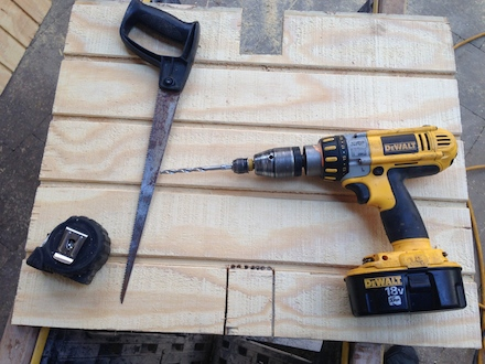 T1-11, Tape, Compass saw, Drill